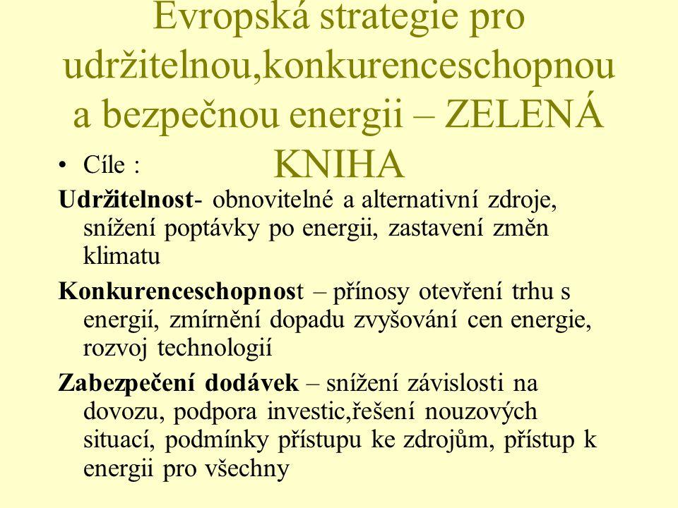Evropská strategie pro udržitelnou,konkurenceschopnou a bezpečnou energii – ZELENÁ KNIHA Cíle : Udržitelnost- obnovitelné a alternativní zdroje, snížení poptávky po energii, zastavení změn klimatu Konkurenceschopnost – přínosy otevření trhu s energií, zmírnění dopadu zvyšování cen energie, rozvoj technologií Zabezpečení dodávek – snížení závislosti na dovozu, podpora investic,řešení nouzových situací, podmínky přístupu ke zdrojům, přístup k energii pro všechny