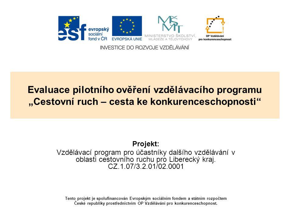"""Evaluace pilotního ověření vzdělávacího programu """"Cestovní ruch – cesta ke konkurenceschopnosti"""" Projekt: Vzdělávací program pro účastníky dalšího vzd"""