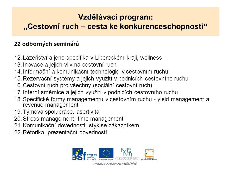 22 odborných seminářů 12.Lázeňství a jeho specifika v Libereckém kraji, wellness 13.Inovace a jejich vliv na cestovní ruch 14.Informační a komunikační