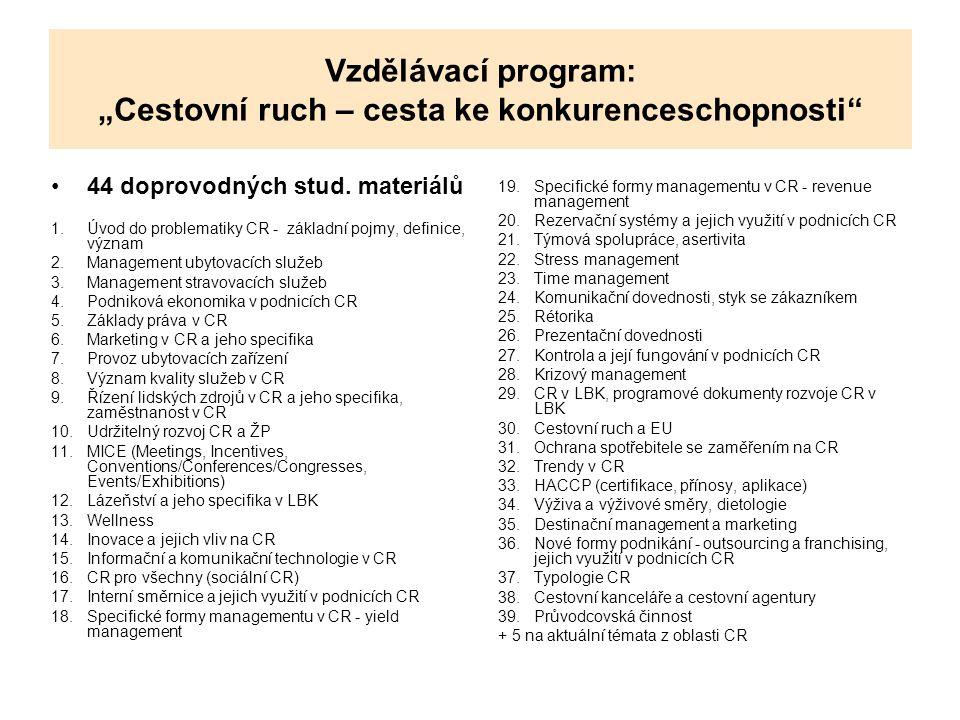 """Vzdělávací program: """"Cestovní ruch – cesta ke konkurenceschopnosti"""" 44 doprovodných stud. materiálů 1.Úvod do problematiky CR - základní pojmy, defini"""