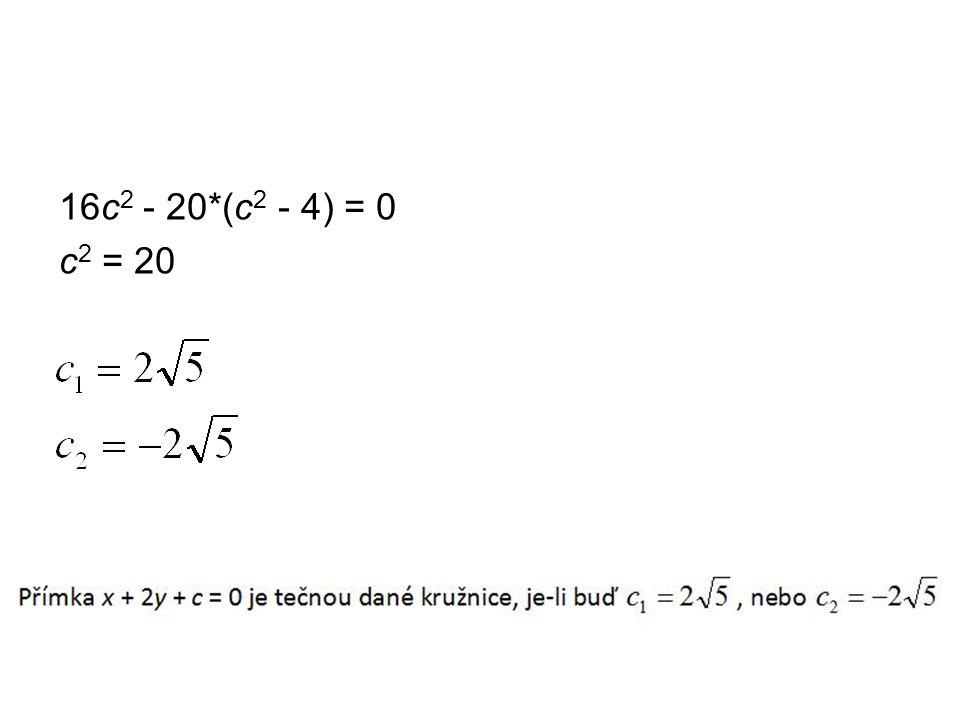 16c 2 - 20*(c 2 - 4) = 0 c 2 = 20