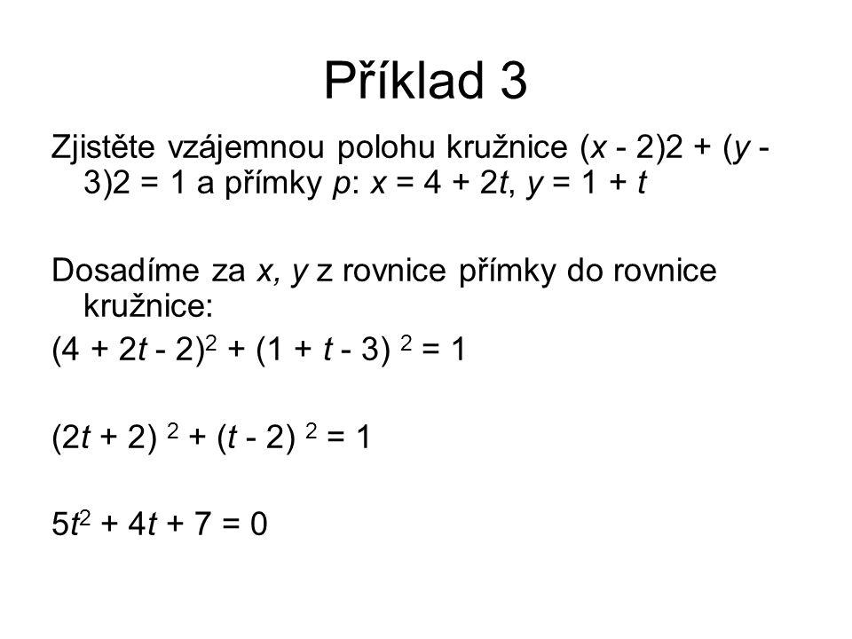 Příklad 3 Zjistěte vzájemnou polohu kružnice (x - 2)2 + (y - 3)2 = 1 a přímky p: x = 4 + 2t, y = 1 + t Dosadíme za x, y z rovnice přímky do rovnice kružnice: (4 + 2t - 2) 2 + (1 + t - 3) 2 = 1 (2t + 2) 2 + (t - 2) 2 = 1 5t 2 + 4t + 7 = 0