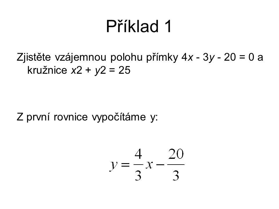 Příklad 1 Zjistěte vzájemnou polohu přímky 4x - 3y - 20 = 0 a kružnice x2 + y2 = 25 Z první rovnice vypočítáme y: