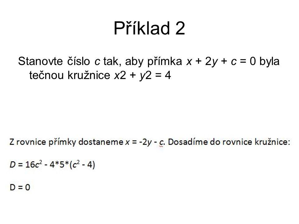 Příklad 2 Stanovte číslo c tak, aby přímka x + 2y + c = 0 byla tečnou kružnice x2 + y2 = 4