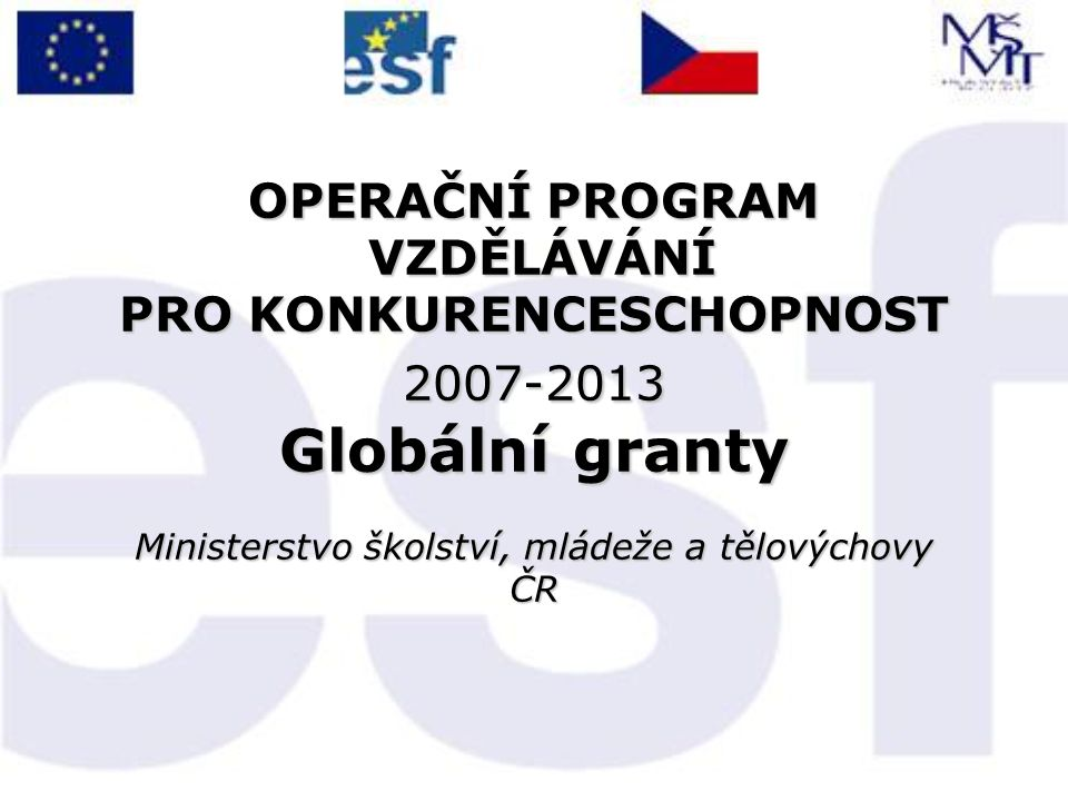 Globální granty OP VK  12.12.2007 - vyhlášení 3 výzev k předkládání GG  5.-6.2.2008 příjem návrhů GG – předloženo 39 návrhů GG  do 13.2.2008 hodnocení formální/přijatelnosti (vč.