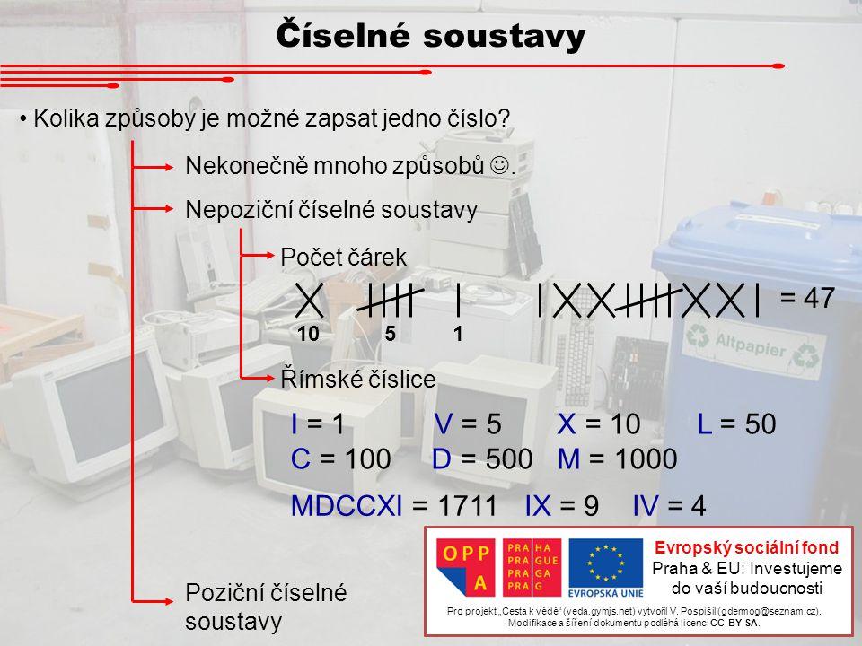 Číselné soustavy Kolika způsoby je možné zapsat jedno číslo? Nekonečně mnoho způsobů. Nepoziční číselné soustavy Počet čárek Římské číslice 1051 = 47