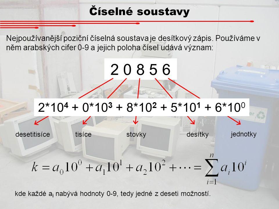 Číselné soustavy Nejpoužívanější poziční číselná soustava je desítkový zápis. Používáme v něm arabských cifer 0-9 a jejich poloha čísel udává význam: