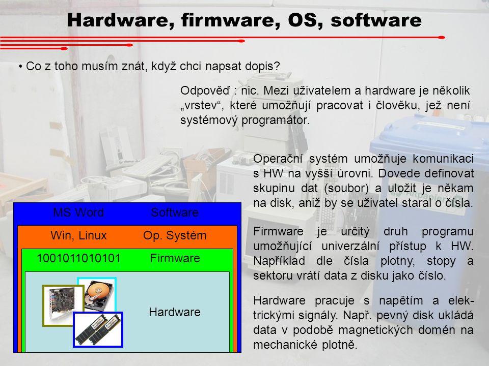 """Hardware, firmware, OS, software Co z toho musím znát, když chci napsat dopis? Odpověď : nic. Mezi uživatelem a hardware je několik """"vrstev"""", které um"""