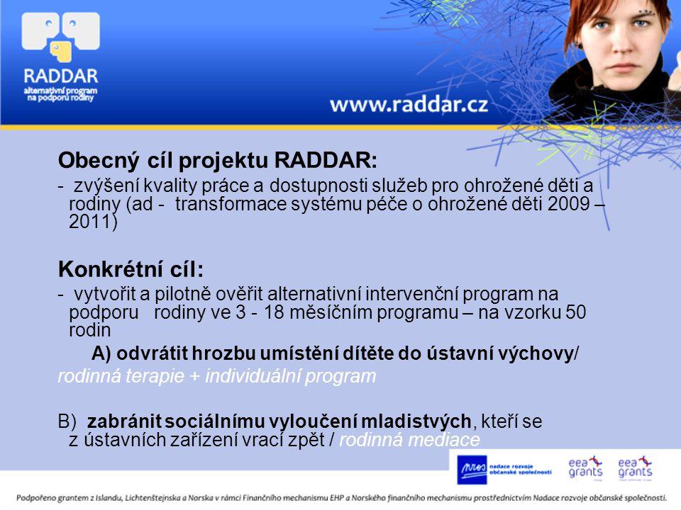 Obecný cíl projektu RADDAR: - zvýšení kvality práce a dostupnosti služeb pro ohrožené děti a rodiny (ad - transformace systému péče o ohrožené děti 2009 – 2011) Konkrétní cíl: - vytvořit a pilotně ověřit alternativní intervenční program na podporu rodiny ve 3 - 18 měsíčním programu – na vzorku 50 rodin A) odvrátit hrozbu umístění dítěte do ústavní výchovy/ rodinná terapie + individuální program B) zabránit sociálnímu vyloučení mladistvých, kteří se z ústavních zařízení vrací zpět / rodinná mediace