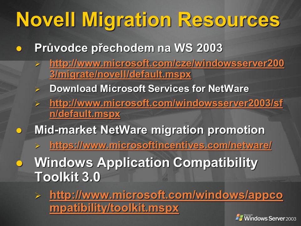 Novell Migration Resources Průvodce přechodem na WS 2003 Průvodce přechodem na WS 2003  http://www.microsoft.com/cze/windowsserver200 3/migrate/novell/default.mspx http://www.microsoft.com/cze/windowsserver200 3/migrate/novell/default.mspx http://www.microsoft.com/cze/windowsserver200 3/migrate/novell/default.mspx  Download Microsoft Services for NetWare  http://www.microsoft.com/windowsserver2003/sf n/default.mspx http://www.microsoft.com/windowsserver2003/sf n/default.mspx http://www.microsoft.com/windowsserver2003/sf n/default.mspx Mid-market NetWare migration promotion Mid-market NetWare migration promotion  https://www.microsoftincentives.com/netware/ https://www.microsoftincentives.com/netware/ Windows Application Compatibility Toolkit 3.0 Windows Application Compatibility Toolkit 3.0  http://www.microsoft.com/windows/appco mpatibility/toolkit.mspx http://www.microsoft.com/windows/appco mpatibility/toolkit.mspx http://www.microsoft.com/windows/appco mpatibility/toolkit.mspx