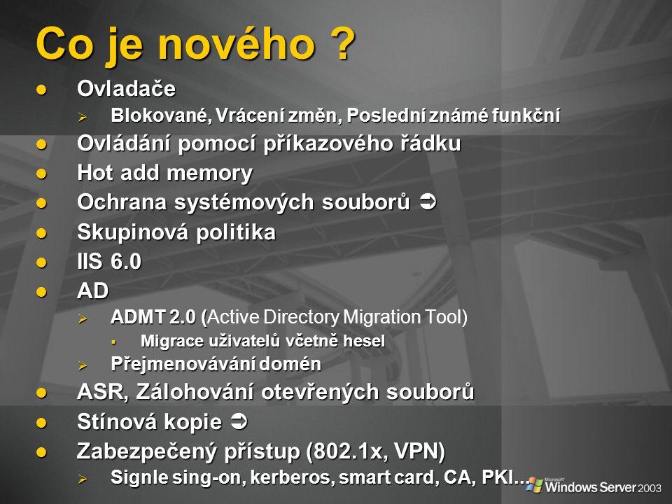 Role serveru  Souborový server  Tiskový server  Aplikační server  E-mailový server  Terminálový server  VPN & vzdálený přístup  DC & AD  Multimedia services  DNS, WINS, DHCP