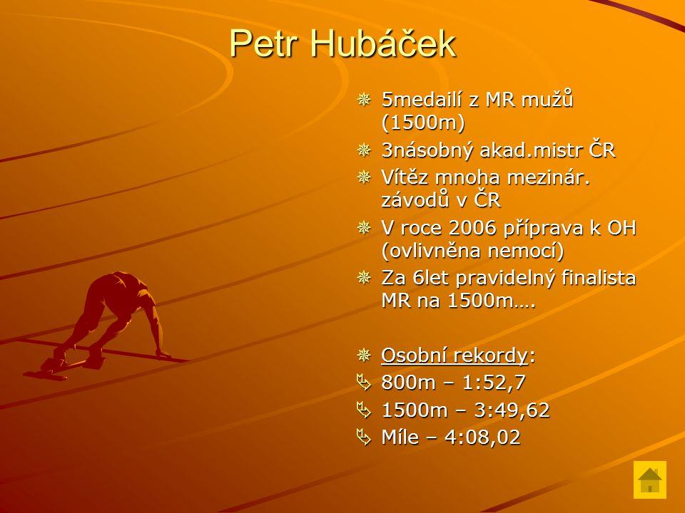 Petr Hubáček  5medailí z MR mužů (1500m)  3násobný akad.mistr ČR  Vítěz mnoha mezinár.