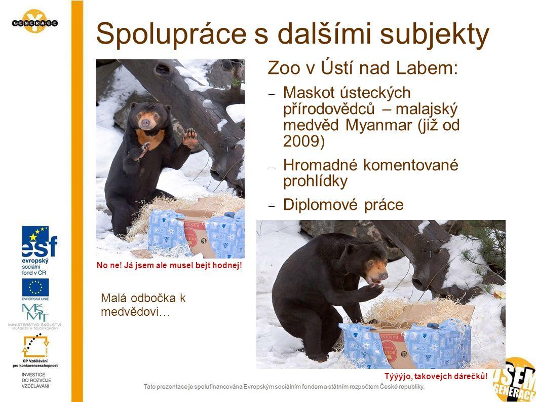 Spolupráce s dalšími subjekty Zoo v Ústí nad Labem:  Maskot ústeckých přírodovědců – malajský medvěd Myanmar (již od 2009)  Hromadné komentované prohlídky  Diplomové práce Malá odbočka k medvědovi… Týýýjo, takovejch dárečků.