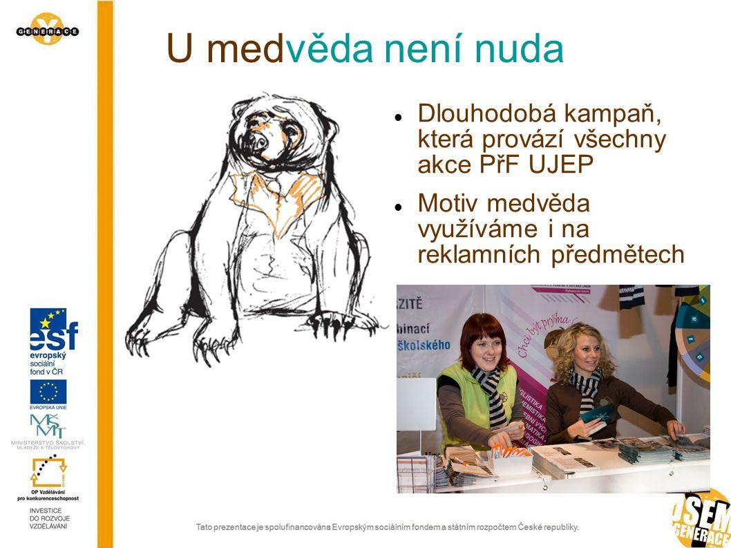 U medvěda není nuda Dlouhodobá kampaň, která provází všechny akce PřF UJEP Motiv medvěda využíváme i na reklamních předmětech