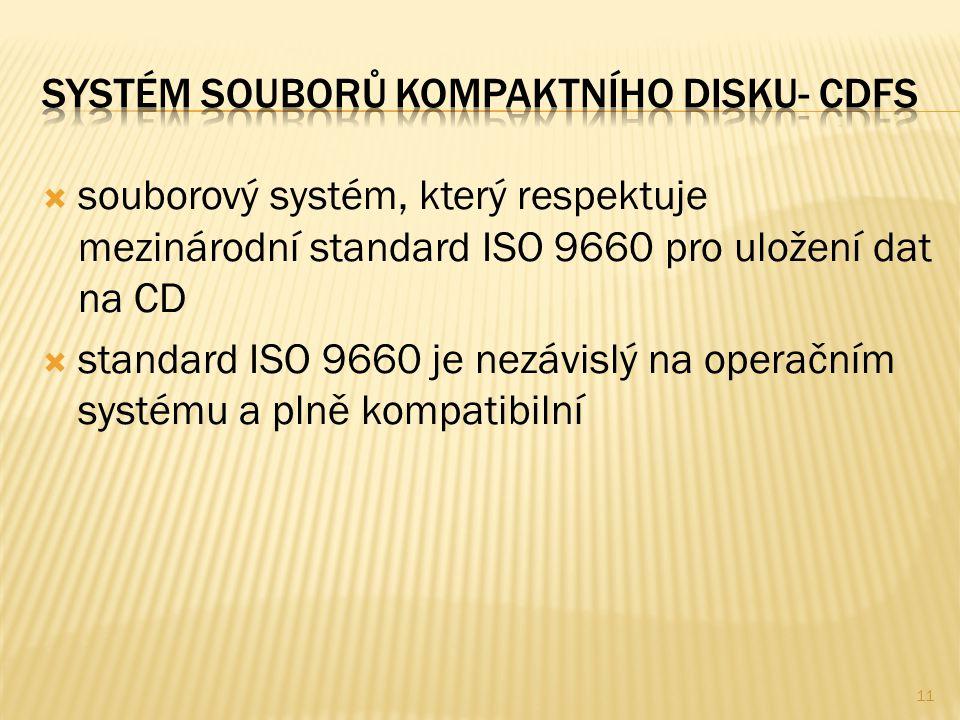  souborový systém, který respektuje mezinárodní standard ISO 9660 pro uložení dat na CD  standard ISO 9660 je nezávislý na operačním systému a plně kompatibilní 11