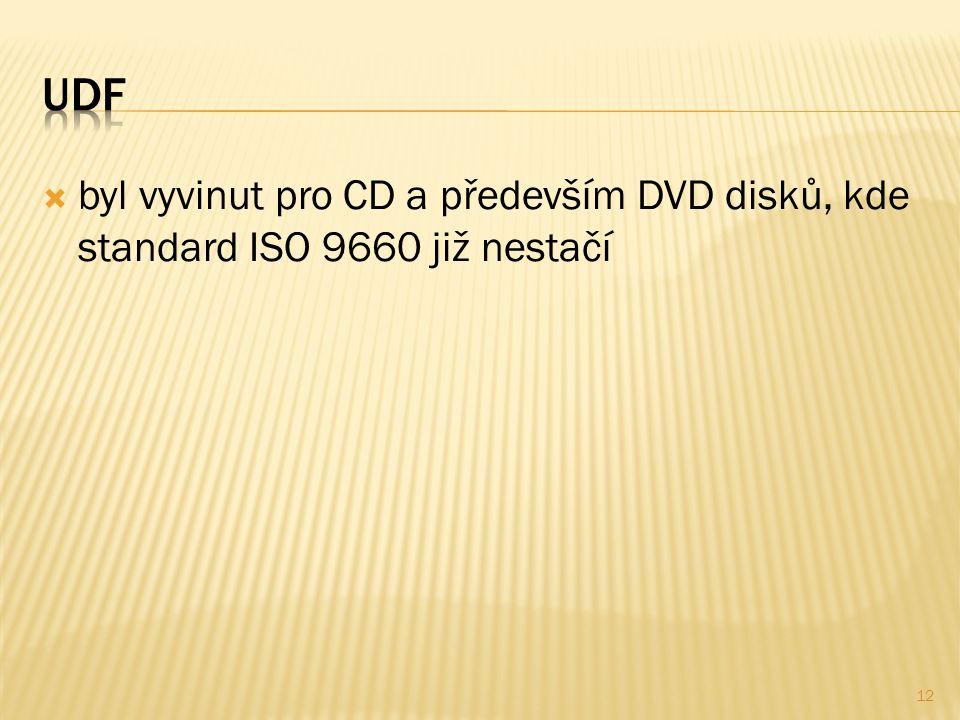  byl vyvinut pro CD a především DVD disků, kde standard ISO 9660 již nestačí 12