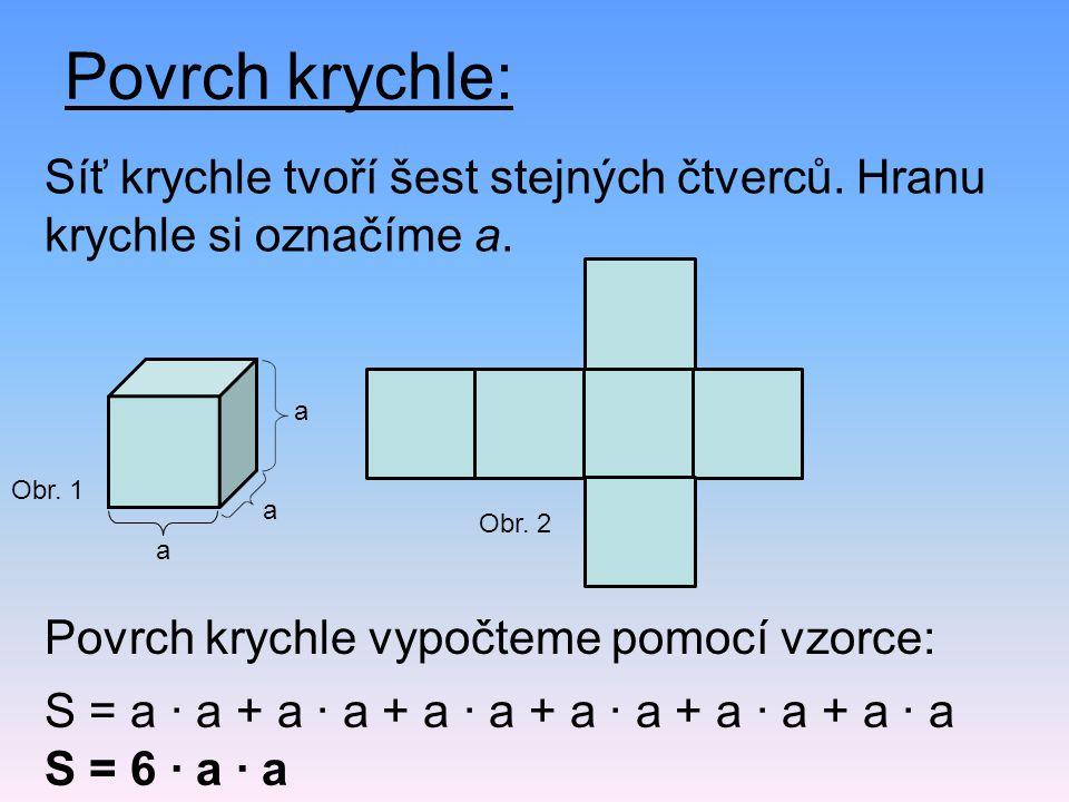 Povrch krychle: Síť krychle tvoří šest stejných čtverců. Hranu krychle si označíme a. Povrch krychle vypočteme pomocí vzorce: S = a · a + a · a + a ·