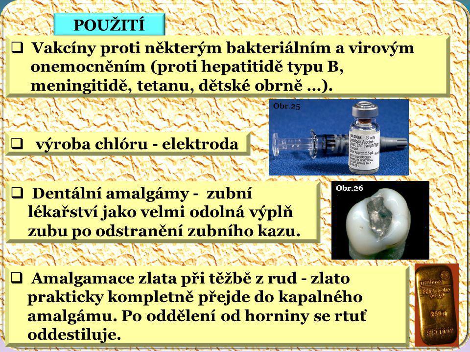 Obr.27 Obr.26 Obr.25 POUŽITÍ  Vakcíny proti některým bakteriálním a virovým onemocněním (proti hepatitidě typu B, meningitidě, tetanu, dětské obrně …).