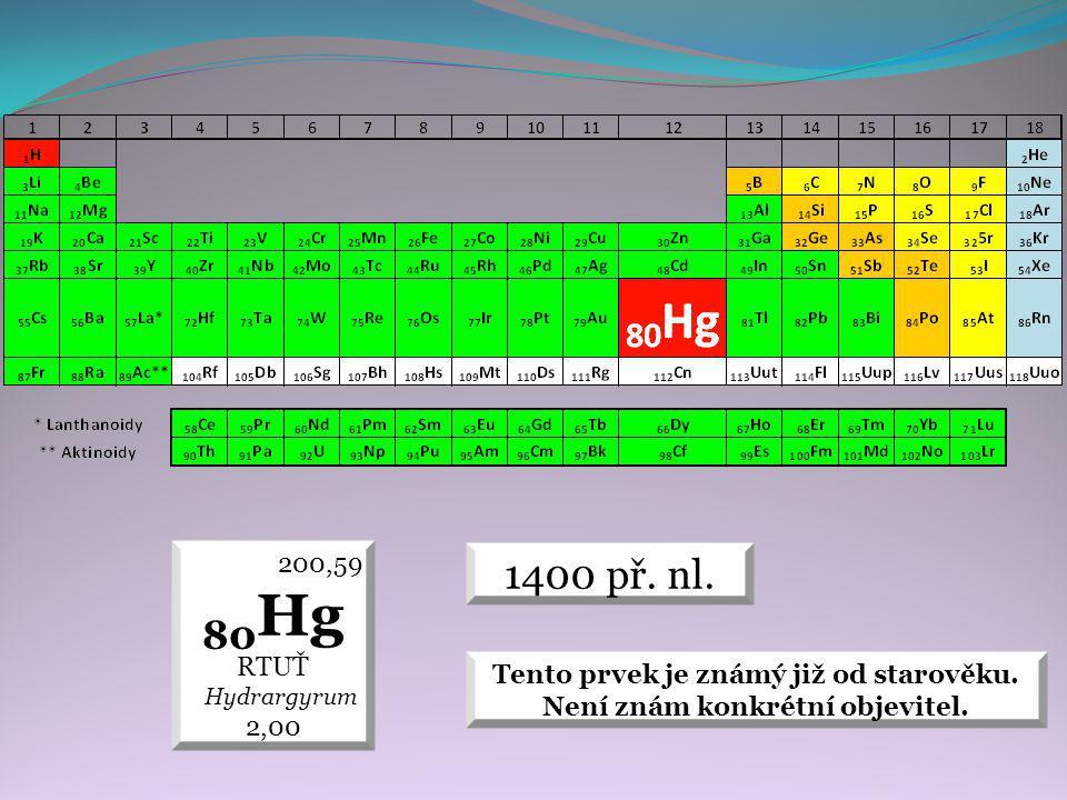 1400 př. nl. 200,59 80 Hg RTUŤ Hydrargyrum 2,00 Tento prvek je známý již od starověku.