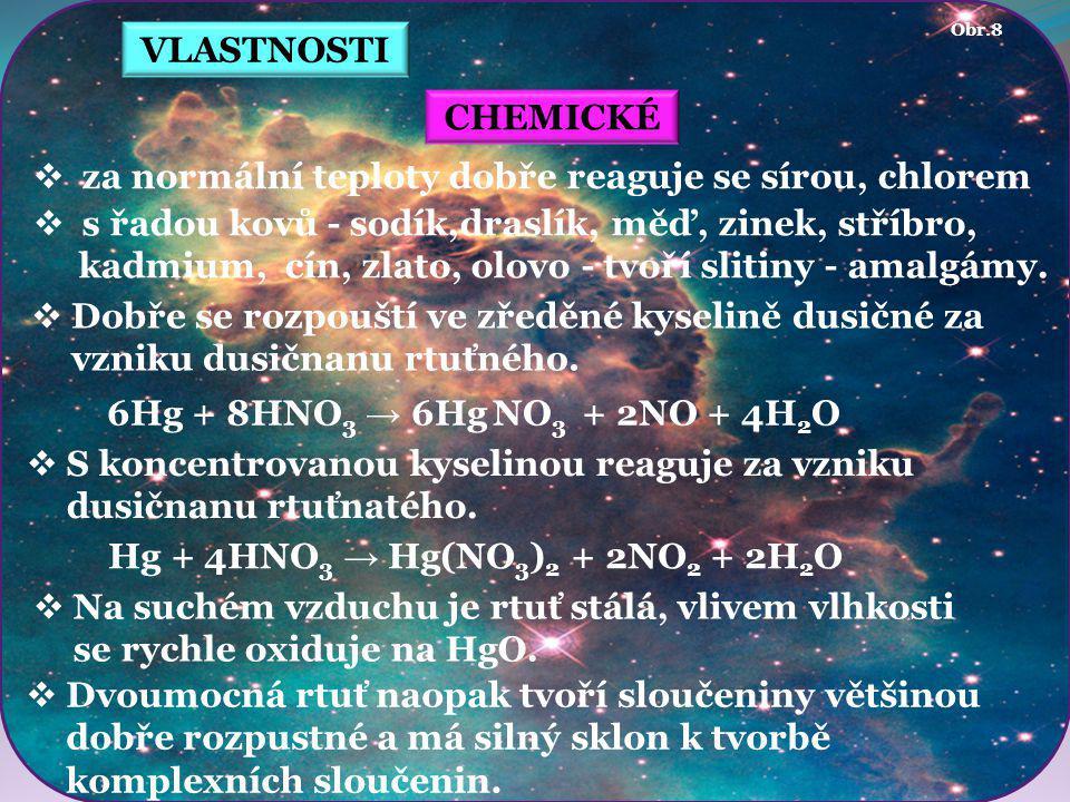  tiemanit HgSe VÝSKYT VOLNÝ VÁZANÝ  vyskytuje se vzácně ryzí  minerály  cinabarit (rumělka) HgS  livingstonit HgSb 4 S 8  montroydit HgO  laffittit AgHgAsS 3  coloradoit HgTe  grumiplucit HgBi 2 S 4  hanawaltit Hg 7 [Cl,(OH)] 2 O 3  corderoit Hg 3 S 2 Cl 2 rumělka limonit corderoit Obr.13 Obr.12 Obr.11 Obr.10 Obr.9 kalcit