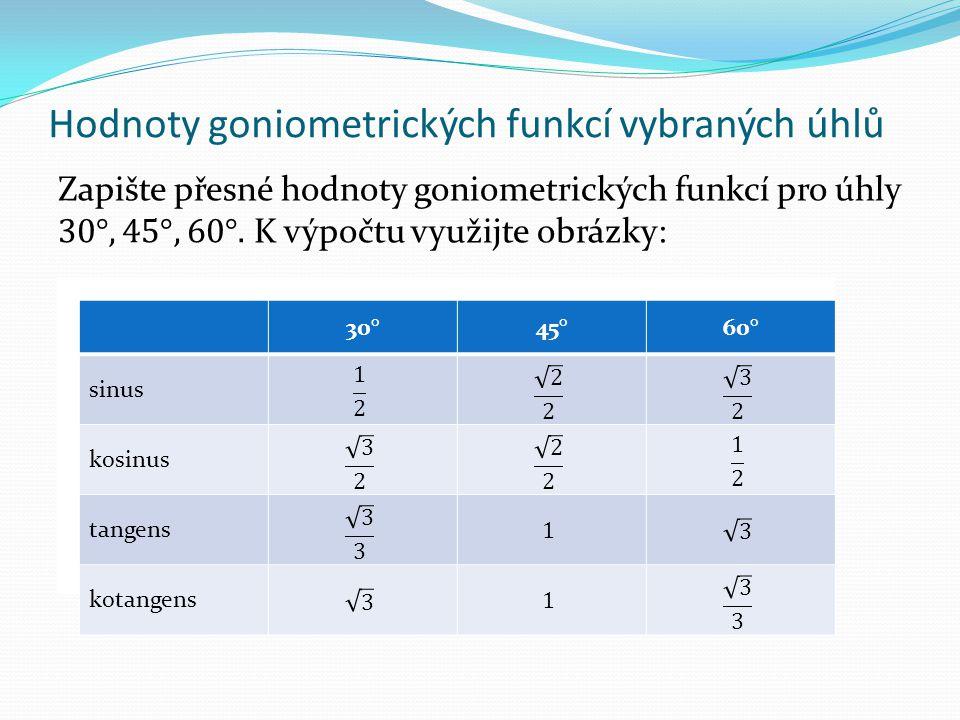 Hodnoty goniometrických funkcí vybraných úhlů 30°45°60° sinus kosinus tangens kotangens