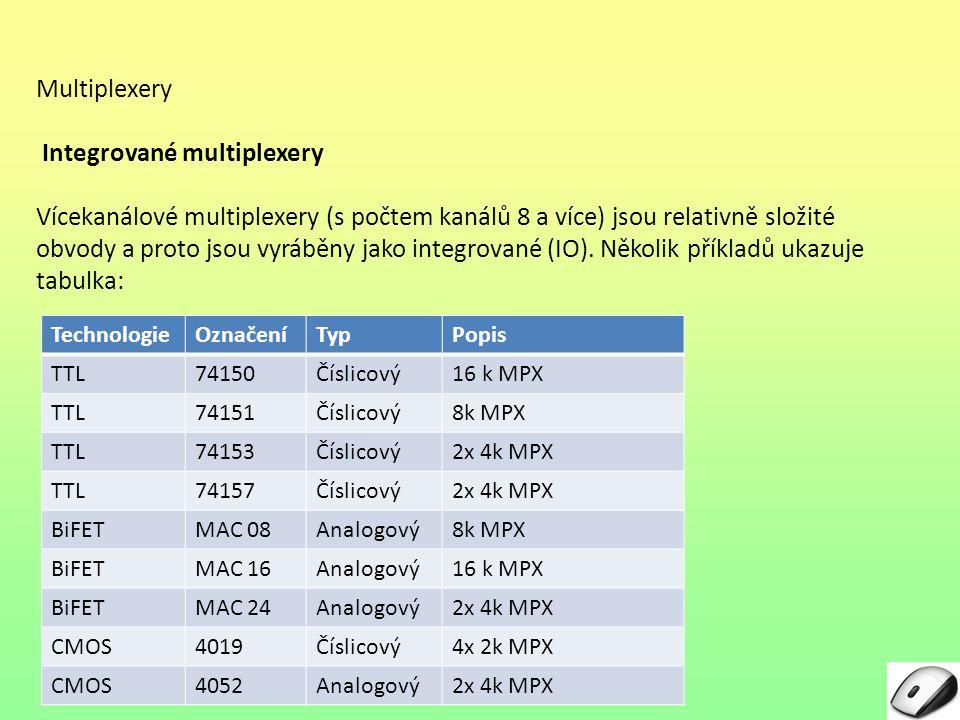 Multiplexery Integrované multiplexery Jak z tabulky vyplývá, v jednom pouzdře integrovaného obvodu může být i několik multiplexerů (2 nebo 4), obvykle ale nejsou na sobě nezávislé – mají např.