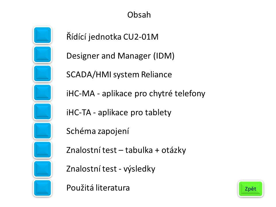Řídící jednotka CU2-01M Designer and Manager (IDM) SCADA/HMI system Reliance iHC-MA - aplikace pro chytré telefony iHC-TA - aplikace pro tablety Schém