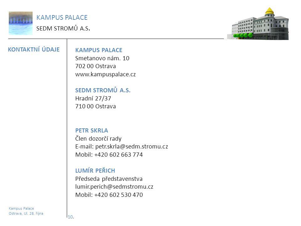 KAMPUS PALACE SEDM STROMŮ A.S. KONTAKTNÍ ÚDAJE Kampus Palace Ostrava, Ul. 28. října KAMPUS PALACE Smetanovo nám. 10 702 00 Ostrava www.kampuspalace.cz