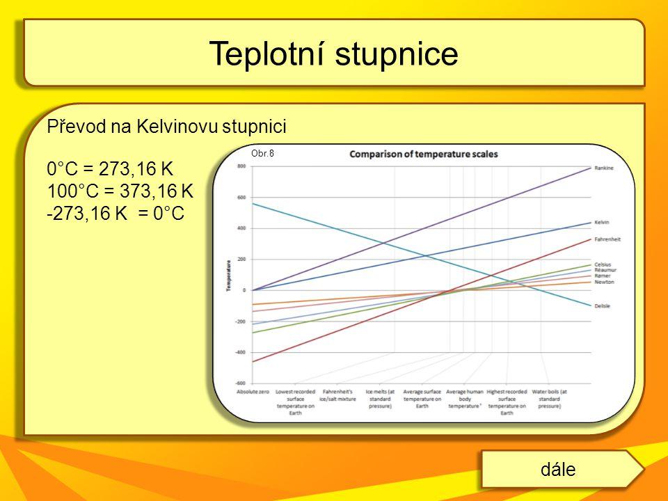Převod na Kelvinovu stupnici 0°C = 273,16 K 100°C = 373,16 K -273,16 K = 0°C Teplotní stupnice dále Obr.8