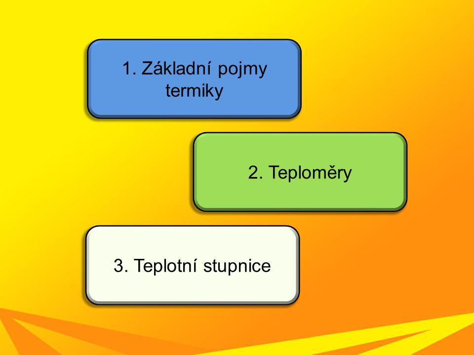 1. Základní pojmy termiky 2. Teploměry 3. Teplotní stupnice