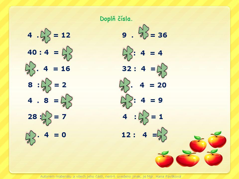 4. 3 = 12 40 : 4 = 10 4. 8 = 32 5. 4 = 20 36 : 4 = 9 8 : 4 = 2 0. 4 = 0 4. 4 = 16 28 : 4 = 7 32 : 4 = 8 16 : 4 = 4 9. 4 = 36 4 : 4 = 1 12 : 4 = 3 Dopl