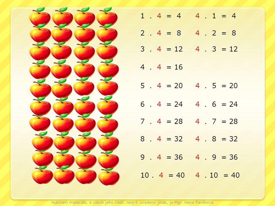1. 4 = 44. 1 = 4 2. 4 = 8 4. 2 = 8 3. 4 = 124. 3 = 12 4. 4 = 16 5. 4 = 204. 5 = 20 6. 4 = 244. 6 = 24 7. 4 = 284. 7 = 28 8. 4 = 324. 8 = 32 9. 4 = 364
