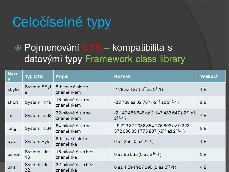 Celočíselné typy  Pojmenování CTS – kompatibilita s datovými typy Framework class library Náze v Typ CTSPopisRozsahVelikost sbyte System.SByt e 8-bit