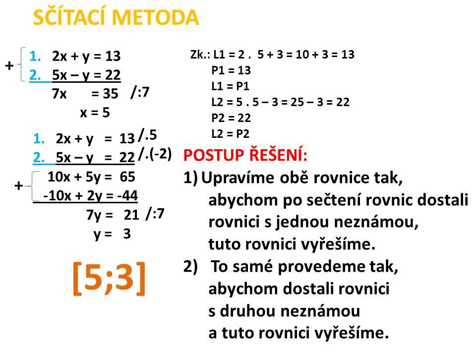 1. 2x + y = 13 2. 5x – y = 22 + 7x = 35 x = 5 /:7 1.