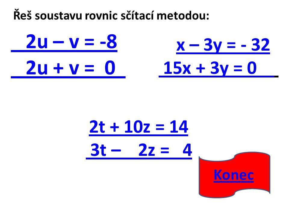 Řeš soustavu rovnic sčítací metodou: 2u – v = -8 2u + v = 0 2t + 10z = 14 3t – 2z = 4 x – 3y = - 32 15x + 3y = 0 Konec