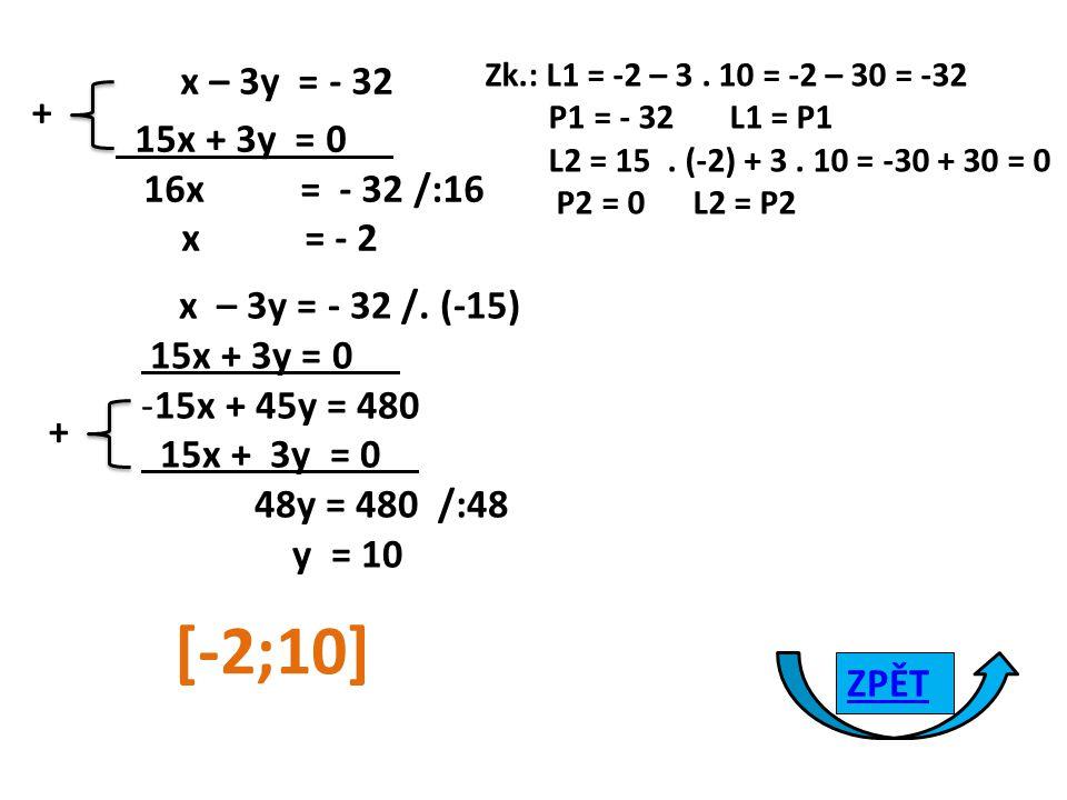 x – 3y = - 32 15x + 3y = 0 16x = - 32 /:16 x = - 2 + x – 3y = - 32 /.