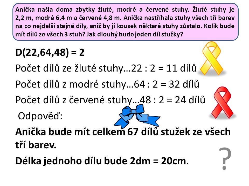 Anička našla doma zbytky žluté, modré a červené stuhy. Žluté stuhy je 2,2 m, modré 6,4 m a červené 4,8 m. Anička nastříhala stuhy všech tří barev na c