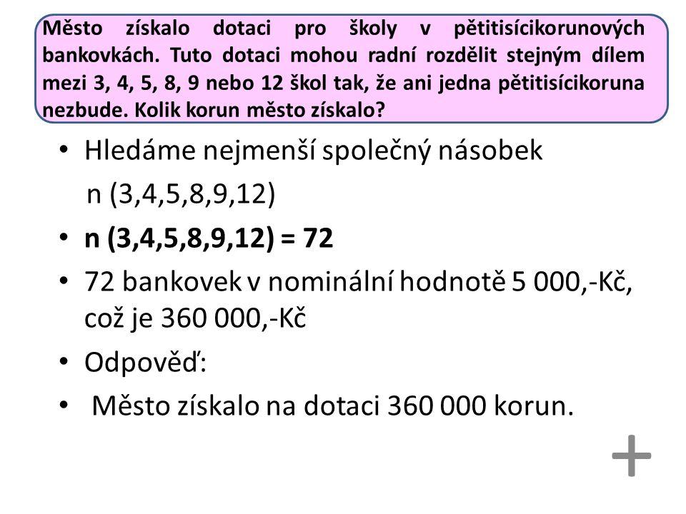 Město získalo dotaci pro školy v pětitisícikorunových bankovkách.