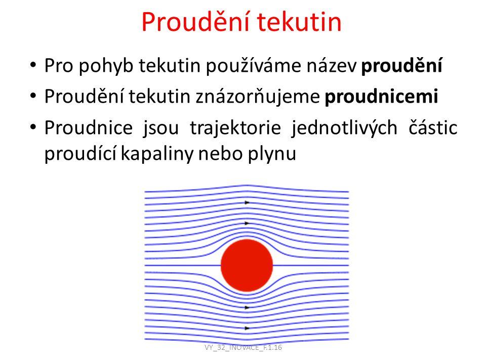 Proudění tekutin Pro pohyb tekutin používáme název proudění Proudění tekutin znázorňujeme proudnicemi Proudnice jsou trajektorie jednotlivých částic proudící kapaliny nebo plynu VY_32_INOVACE_F.1.16
