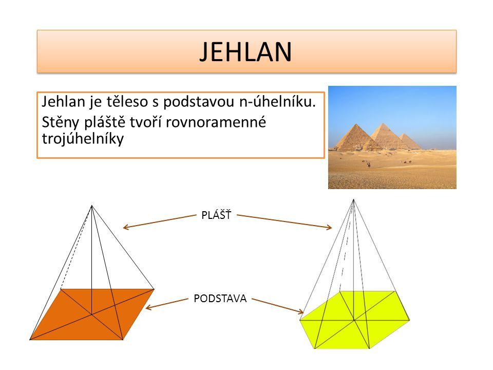 JEHLAN Jehlan je těleso s podstavou n-úhelníku. Stěny pláště tvoří rovnoramenné trojúhelníky PLÁŠŤ PODSTAVA