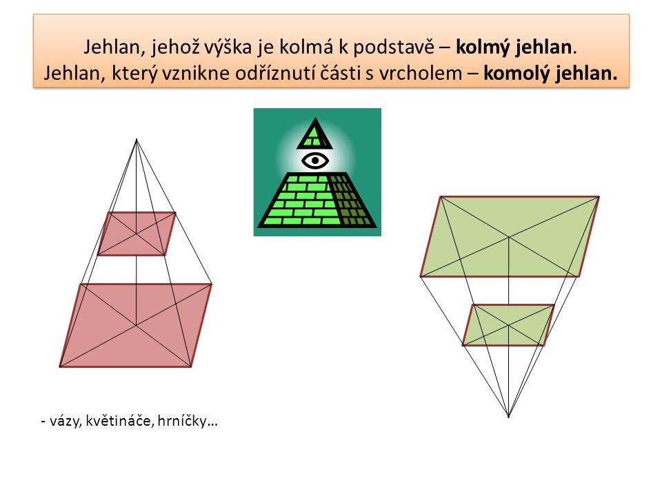 Jehlan, jehož výška je kolmá k podstavě – kolmý jehlan. Jehlan, který vznikne odříznutí části s vrcholem – komolý jehlan. - vázy, květináče, hrníčky…