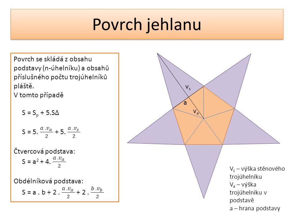Povrch jehlanu vsvs vava a V s – výška stěnového trojúhelníku V a – výška trojúhelníku v podstavě a – hrana podstavy