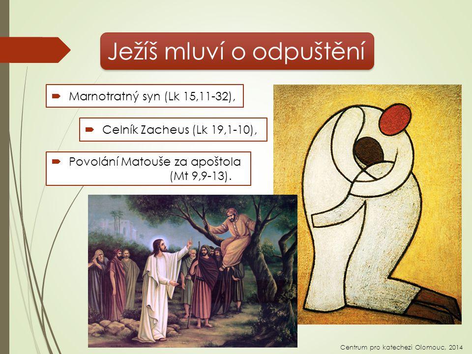 Ježíš mluví o odpuštění  Celník Zacheus (Lk 19,1-10), Centrum pro katechezi Olomouc, 2014  Marnotratný syn (Lk 15,11-32),  Povolání Matouše za apoštola (Mt 9,9-13).