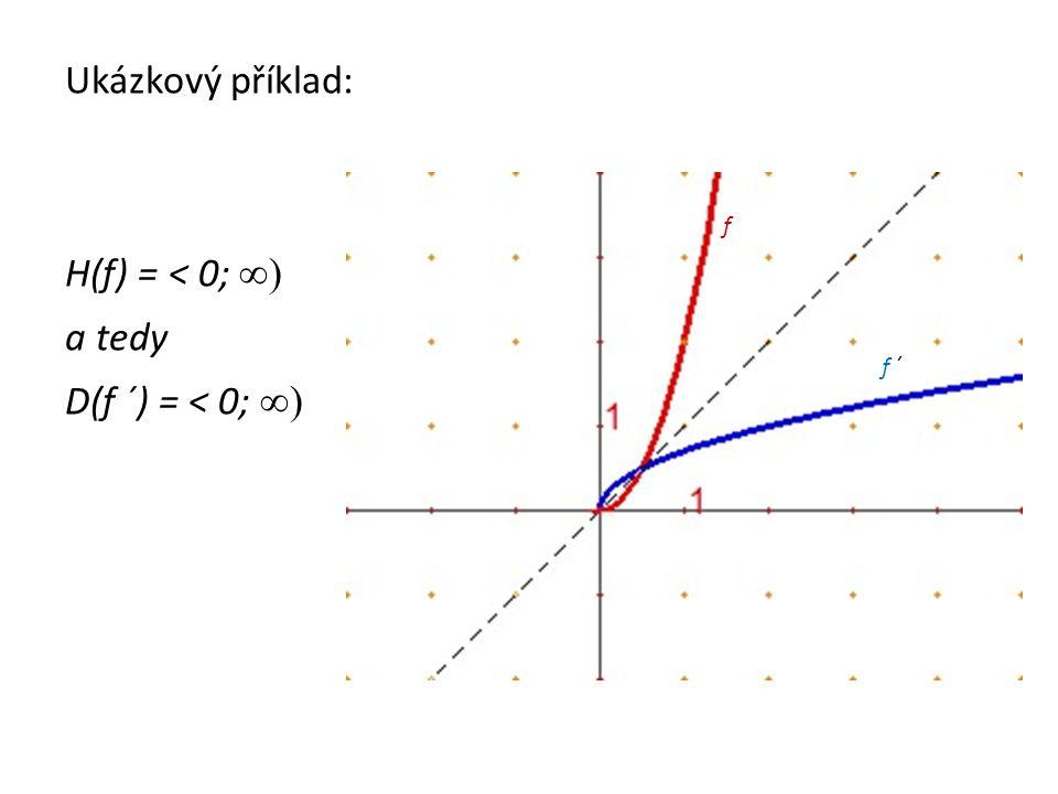Ukázkový příklad: H(f) = < 0; ∞) a tedy D(f ´) = < 0; ∞) f f ´