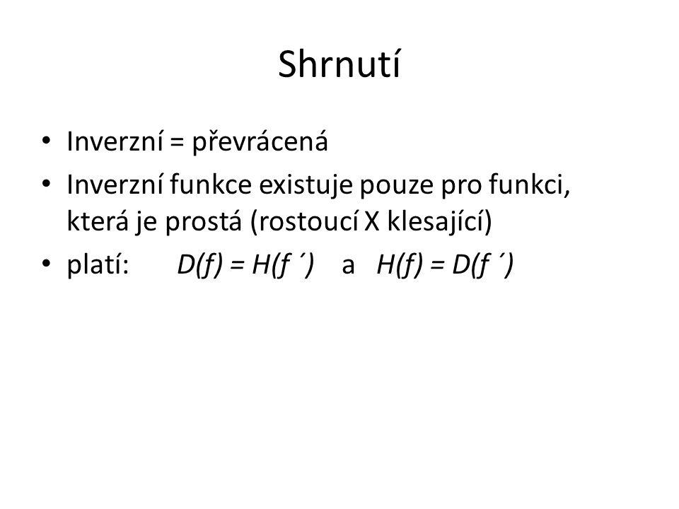 Shrnutí Inverzní = převrácená Inverzní funkce existuje pouze pro funkci, která je prostá (rostoucí X klesající) platí: D(f) = H(f ´) a H(f) = D(f ´)