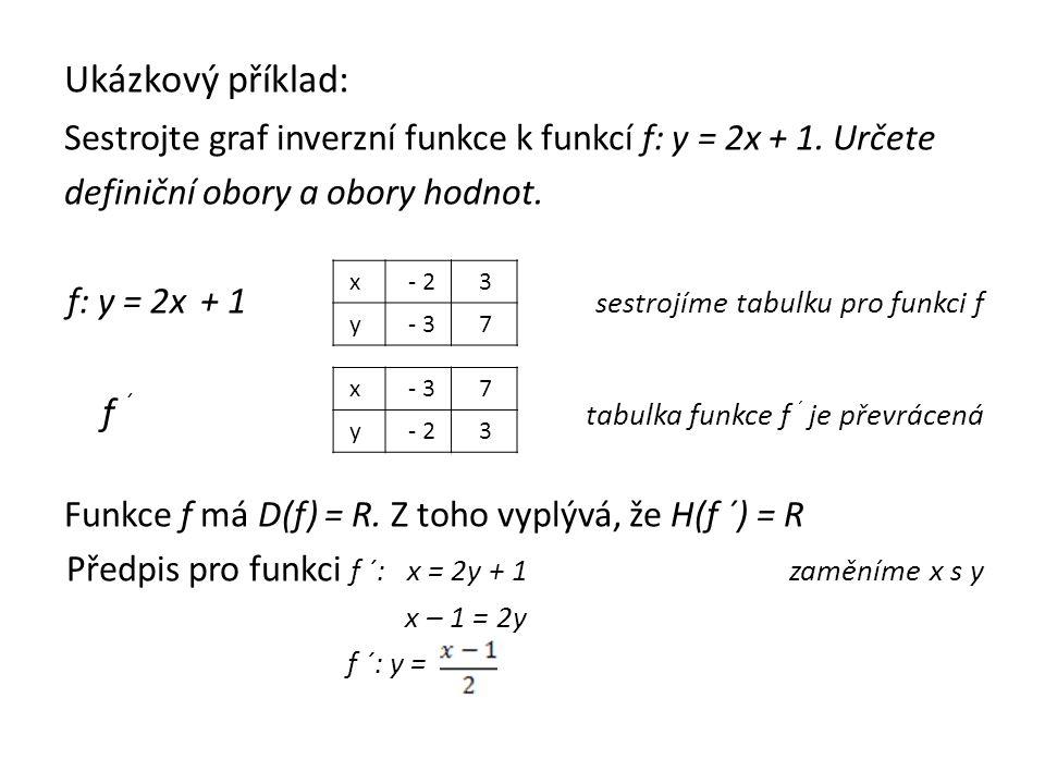Ukázkový příklad: Sestrojte graf inverzní funkce k funkcí f: y = 2x + 1.