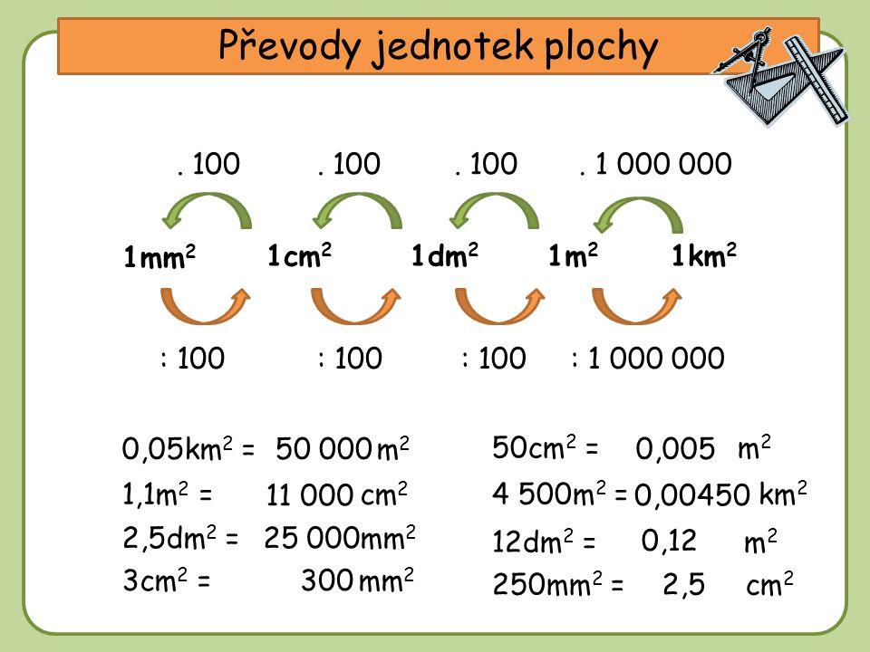 DD Převody jednotek plochy 1m 2 1cm 2 1km 2 1mm 2 1dm 2 0,05km 2 = m 2 : 100 1,1m 2 = cm 2 50cm 2 = m 2 : 1 000 000: 100. 100. 1 000 000. 100 4 500m 2