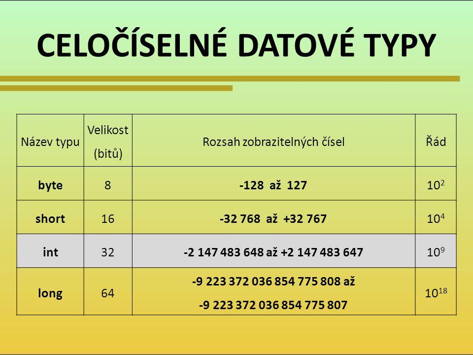 CELOČÍSELNÉ DATOVÉ TYPY Název typu Velikost (bitů) Rozsah zobrazitelných číselŘád byte8-128 až 12710 2 short16-32 768 až +32 76710 4 int32-2 147 483 6