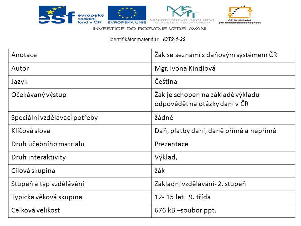 Identifikátor materiálu: ICT2-1-32 AnotaceŽák se seznámí s daňovým systémem ČR AutorMgr.