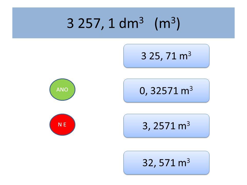 3 257, 1 dm 3 (m 3 ) ANO N E 3 25, 71 m 3 0, 32571 m 3 3, 2571 m 3 32, 571 m 3
